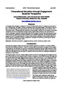 Transnational Education through Engagement: Students Perspective