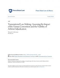Transnational Law-Making: Assessing the Impact of the Vienna Convention and the Viability of Arbitral Adjudication