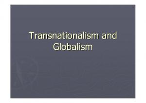 Transnationalism and Globalism