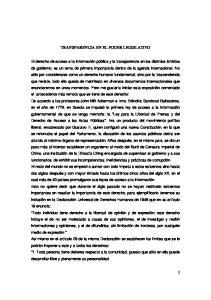 TRANSPARENCIA EN EL PODER LEGISLATIVO