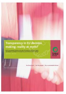 Transparency in EU decision making: reality or myth?