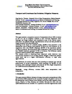 Transport and Greenhouse Gas Emissions. Mitigation Measures