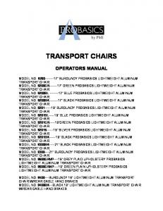 TRANSPORT CHAIRS OPERATORS MANUAL