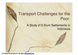Transport Challenges for the Poor: