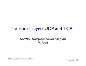 Transport Layer: UDP and TCP