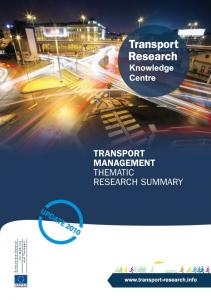 Transport Management. Thematic Research Summary: European Commission DG Mobility and Transport. Transport Research Knowledge Centre