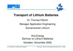Transport of Lithium Batteries