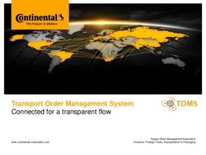 Transport Order Management System Connected for a transparent flow