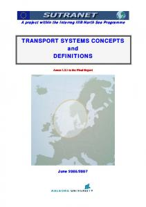 TRANSPORT SYSTEMS CONCEPTS and DEFINITIONS