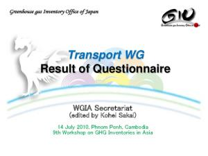 Transport WG Result of Questionnaire