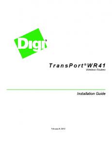 TransPort WR41 Wireless Routers. Installation Guide