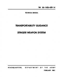 TRANSPORTABILITY GUIDANCE STINGER WEAPON SYSTEM