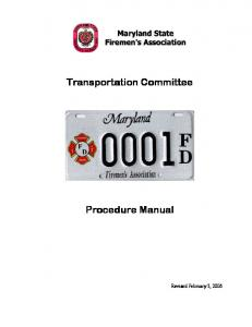 Transportation Committee. Procedure Manual
