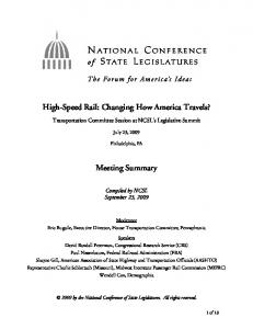 Transportation Committee Session at NCSL's Legislative Summit. July 23, Philadelphia, PA. Meeting Summary. Compiled by NCSL September 23, 2009