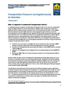 Transportation Finance in Los Angeles County: An Overview