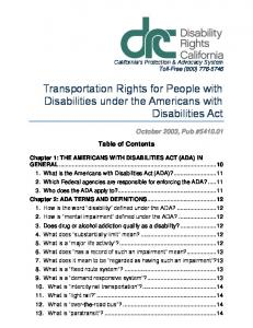 Transportation Rights for People with Disabilities under the Americans with Disabilities Act