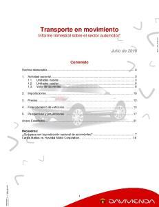 Transporte en movimiento Informe trimestral sobre el sector automotor*