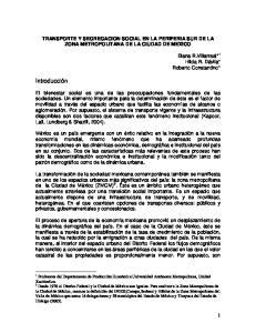 TRANSPORTE Y SEGREGACION SOCIAL EN LA PERIFERIA SUR DE LA ZONA METROPOLITANA DE LA CIUDAD DE MEXICO