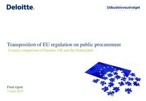 Transposition of EU regulation on public procurement