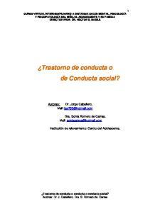 Trastorno de conducta o de Conducta social?