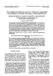 TRASTORNOS DE PERSONALIDAD EN PACIENTES AQUEJADOS DE ANOREXIA Y BULIMIA NERVIOSA: UN ESTUDIO PILOTO