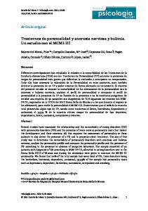 Trastornos de personalidad y anorexia nerviosa y bulimia. Un estudio con el MCMI-III