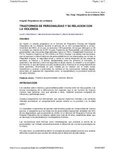 TRASTORNOS DE PERSONALIDAD Y SU RELACION CON LA VIOLENCIA
