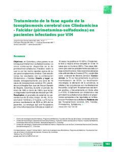 Tratamiento de la fase aguda de la toxoplasmosis cerebral con Clindamicina - Falcidar (pirimetamina-sulfadoxina) en pacientes infectados por VIH