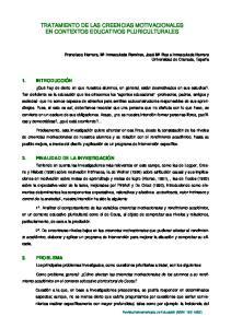 TRATAMIENTO DE LAS CREENCIAS MOTIVACIONALES EN CONTEXTOS EDUCATIVOS PLURICULTURALES