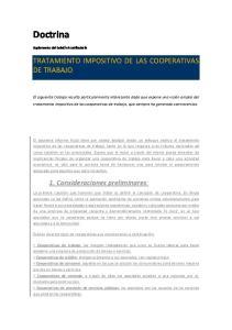 TRATAMIENTO IMPOSITIVO DE LAS COOPERATIVAS DE TRABAJO