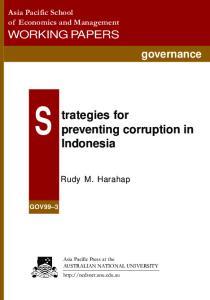 trategies preventing corruption in Indonesia