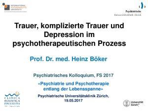 Trauer, komplizierte Trauer und Depression im psychotherapeutischen Prozess