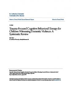 Trauma-Focused Cognitive Behavioral Therapy for Children Witnessing Domestic Violence: A Systematic Review