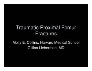Traumatic Proximal Femur Fractures. Molly E. Collins, Harvard Medical School Gillian Lieberman, MD