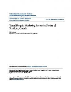 Travel Blogs in Marketing Research: Stories of Stratford, Canada