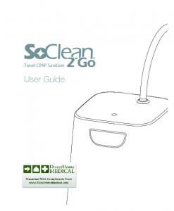 Travel CPAP Sanitizer 2 Go. User Guide