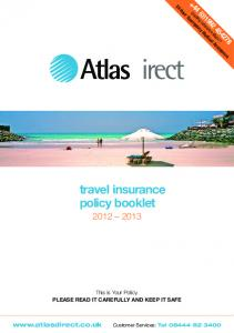 travel insurance policy booklet