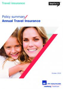 Travel insurance. Policy summary Annual Travel Insurance