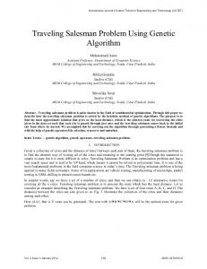 Traveling Salesman Problem Using Genetic Algorithm