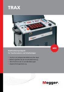 TRAX NEU. Multifunktionsprüfgerät für Transformatoren und Schaltanlagen