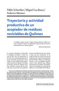 Trayectoria y actividad productiva de un acopiador de residuos reciclables de Quilmes