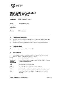 TREASURY MANAGEMENT PROCEDURES 2014
