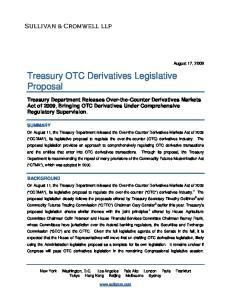 Treasury OTC Derivatives Legislative Proposal