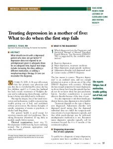 Treating depression in a mother of five: What to do when the first step fails