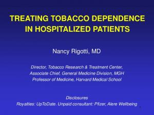 TREATING TOBACCO DEPENDENCE IN HOSPITALIZED PATIENTS