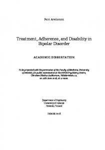 Treatment, Adherence, and Disability in Bipolar Disorder