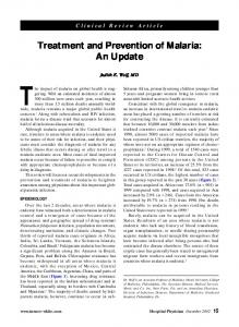 Treatment and Prevention of Malaria: An Update