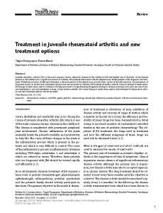 Treatment in juvenile rheumatoid arthritis and new treatment options