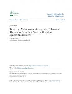 Treatment Maintenance of Cognitive-Behavioral Therapy for Anxiety in Youth with Autism Spectrum Disorders