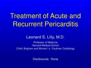 Treatment of Acute and Recurrent Pericarditis